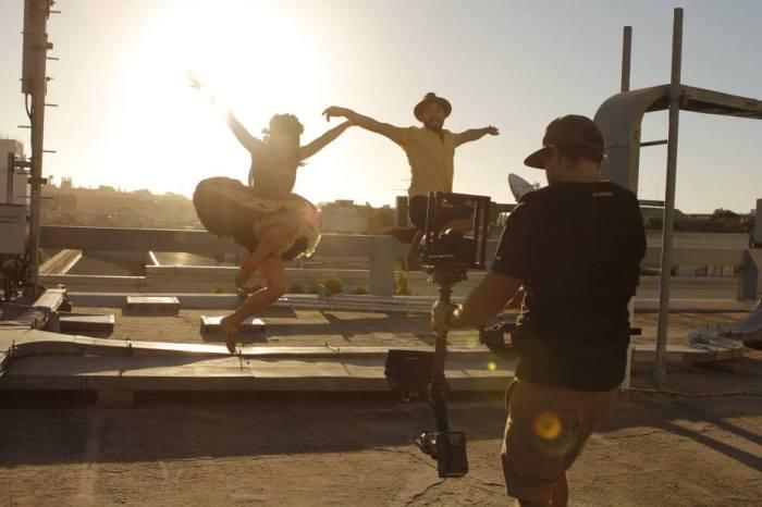 Emma Watkins & Andrew Koblar on the Happy shoot